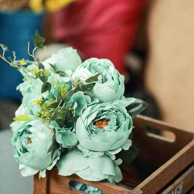 2 Bush Turquoise Peony Rose Bud And Hydrangea Real Touch Artificial Silk Flower Bouquets