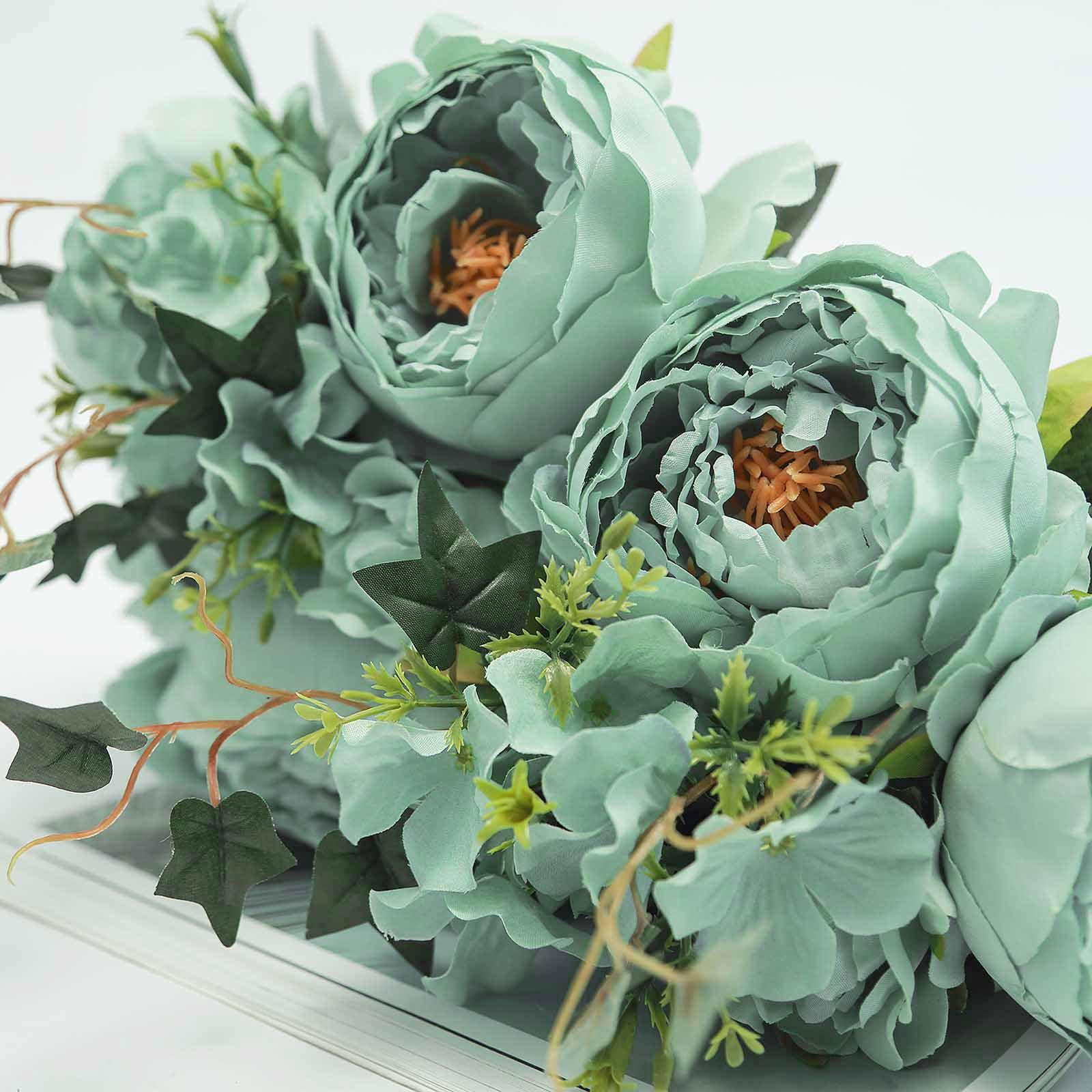 2 Bushes Ice Blueturquoise Peony Rose Bud And Hydrangea Artificial