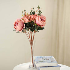2 Bush Dusty Rose/Blush Peony, Rose Bud And Hydrangea Real Touch Silk Faux Peony Arrangements