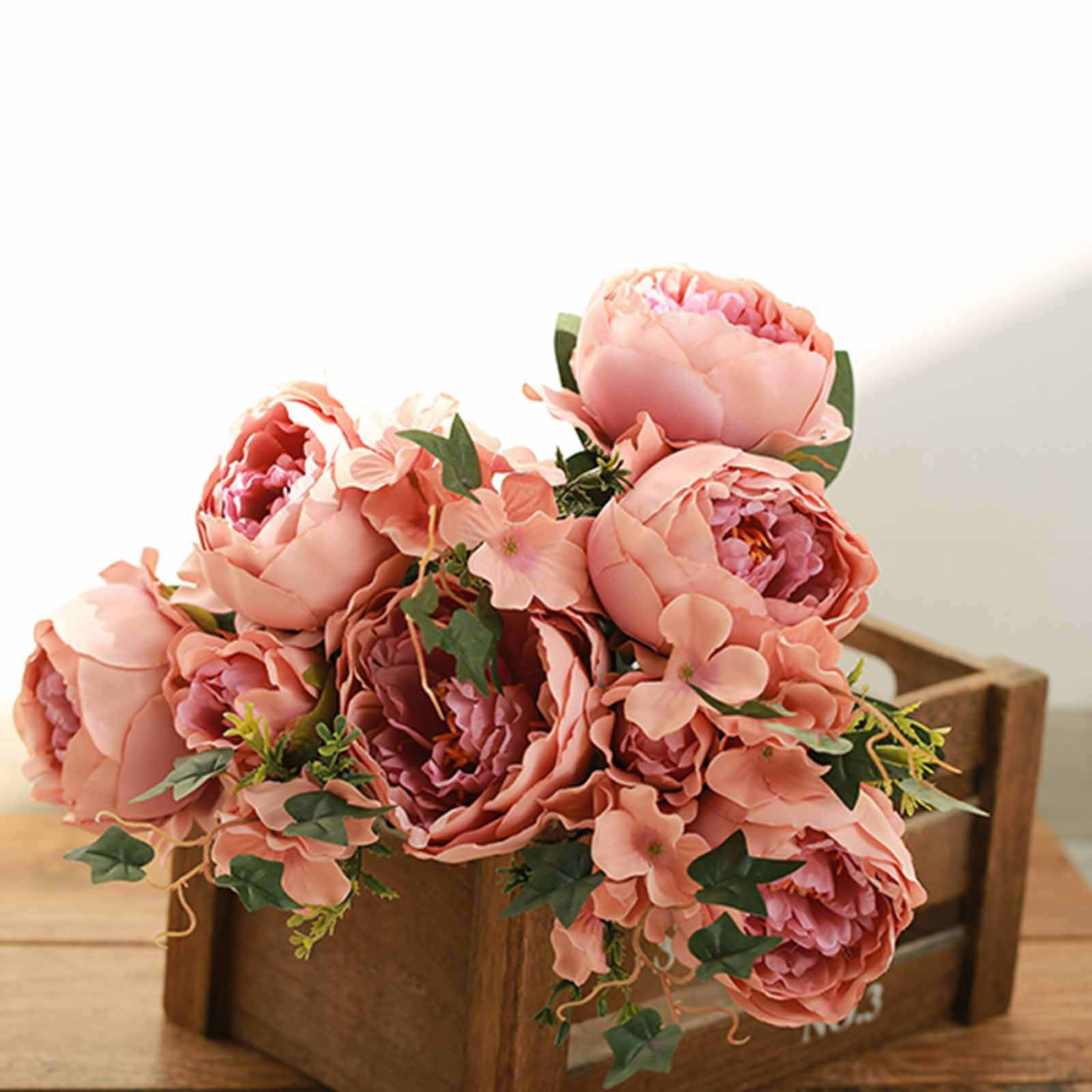 2 Bushes Dusty Roseblush Peony Rose Bud And Hydrangea Artificial