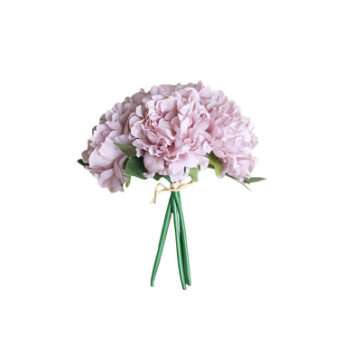 "5 Heads | 11"" Tall Artificial Bush Peony Bouquet - Dusty Rose#whtbkgd"