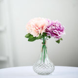 "5 Heads | 11"" Tall Dual Tone Artificial Bush Peony Bouquet - Blush