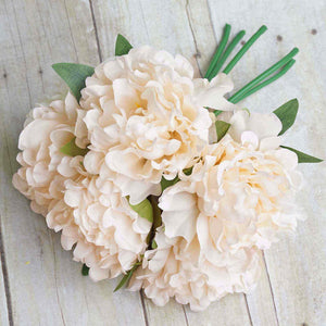 "5 Heads | 11"" Tall Artificial Bush Peony Bouquet - Blush Cream"