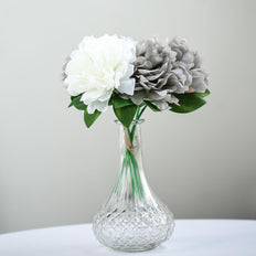 "5 Heads | 11"" Tall Dual Tone Artificial Bush Peony Bouquet - Gray