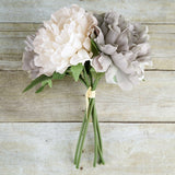 "5 Heads | 11"" Tall Dual Tone Artificial Bush Peony Bouquet - Dusty Rose
