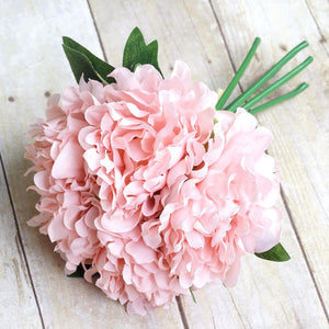 "1 Bush | 5pcs 11"" Tall Pink Silk Faux Peony Arrangements"