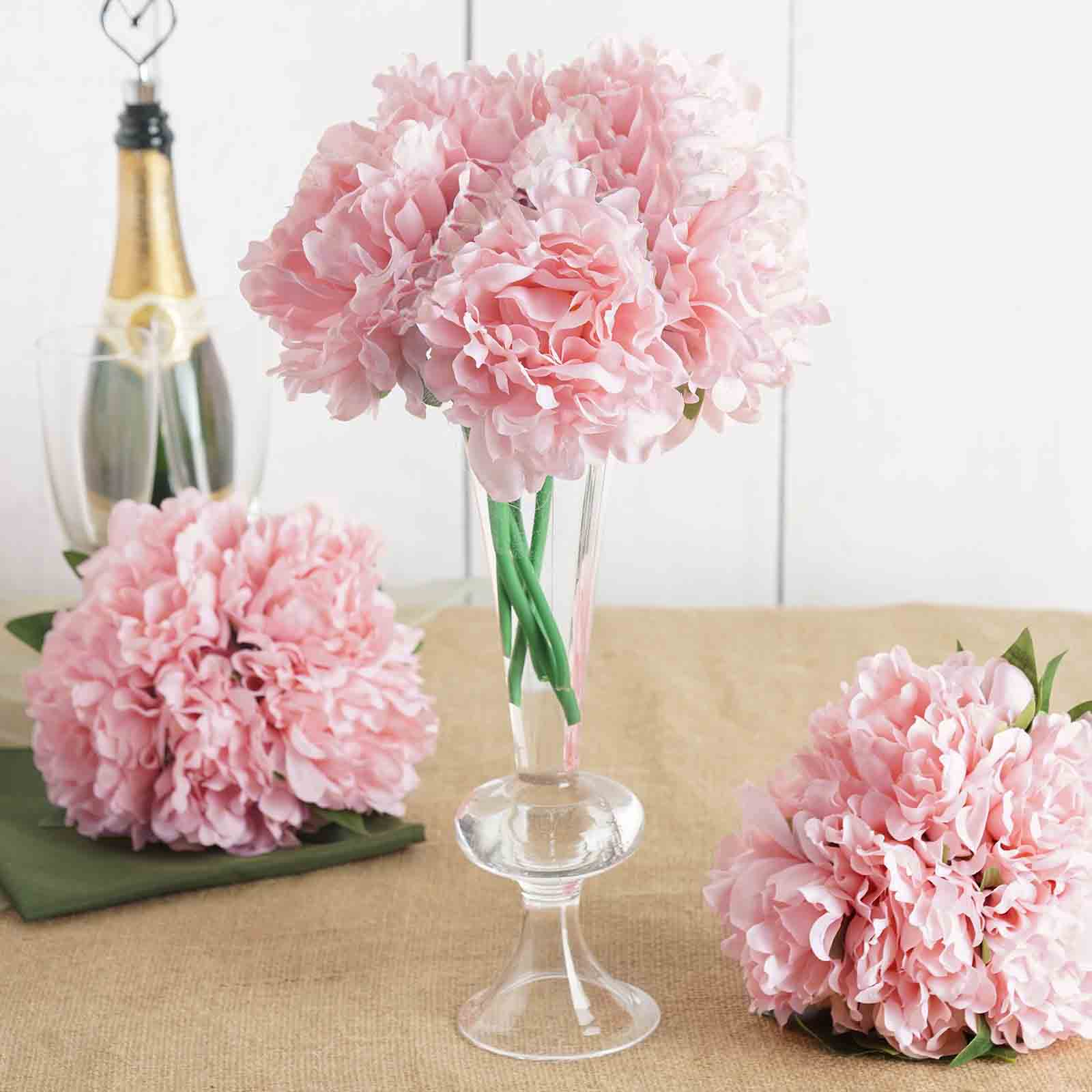 5 Pack 11 Tall Pink Artificial Silk Peony Flowers Tablecloths