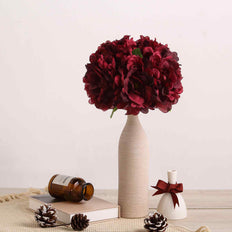 "5 Heads | 11"" Tall Artificial Bush Peony Bouquet - Burgundy"