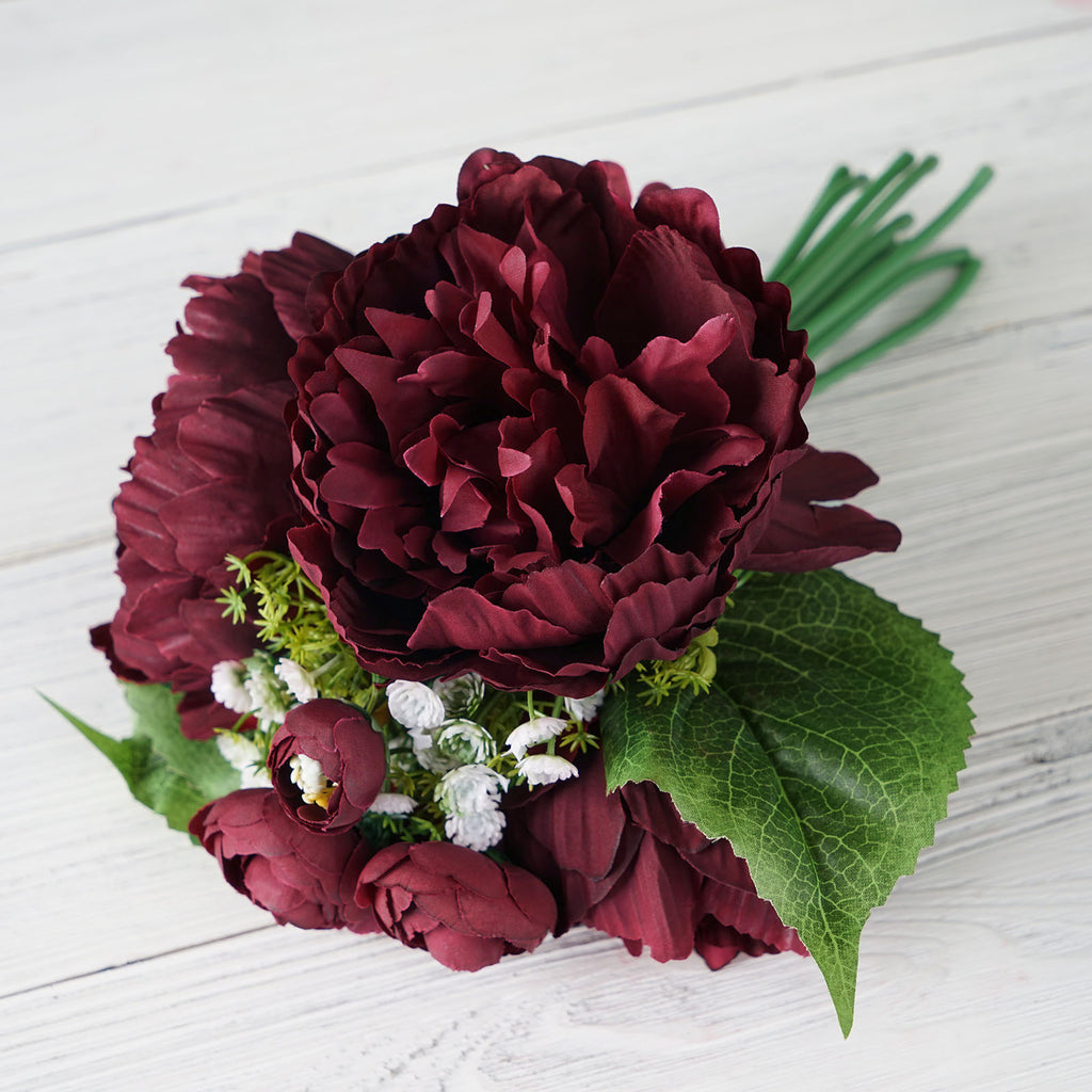 12 Tall Burgundy Artificial Peony Silk Flowers Bouquet Tableclothsfactory