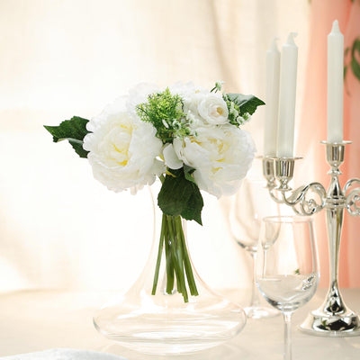 12'' Tall White Silk Faux Peony Arrangements