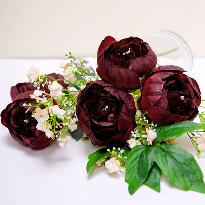 10 Pack | 3inch Burgundy Silk Peony Flower Heads, Artificial Peonies For Flower Arrangement