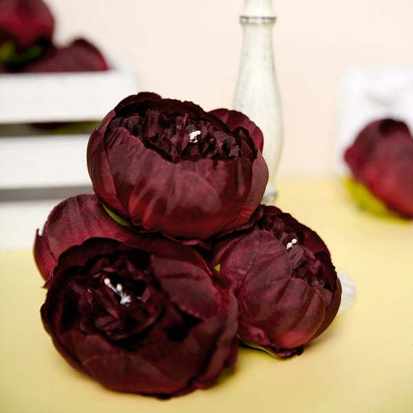 "10 Pack | 3"" Burgundy Silk Peony Flower Heads, Artificial Peonies For Flower Arrangement"