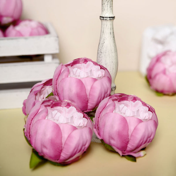 "10 Pack | 3"" Silk Peony Flower Heads, Artificial Peonies For Flower Arrangement - Lavender 