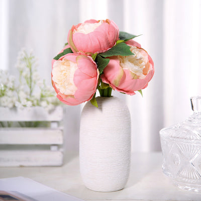 10 inch Tall | Coral 5 Heads Silk Peonies, Artificial Peony Flower Bouquet