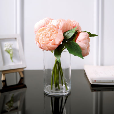 10 inch Tall | Peach 5 Heads Silk Peonies, Artificial Peony Flower Bouquet