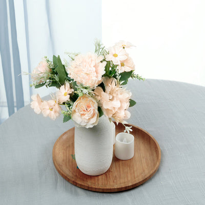 "2 Bouquet | 12"" Peony Silk Flower Assorted Bouquet Vase Flowers - Rose Gold 