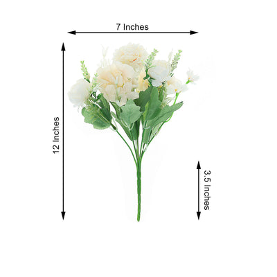 "2 Pack | Rose Gold/Blush Silk Peony Bouquet, Assorted Artificial Flowers For Vases - 12"" Tall"