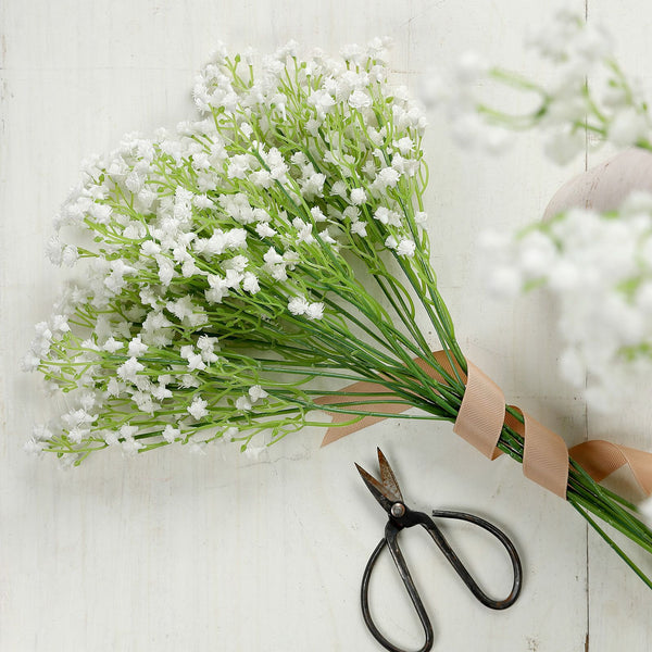 "12 Pack | 22"" White Babys Breath Artificial Flowers, Gypsophila Real Touch Silk Flowers Stem"