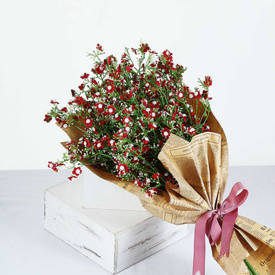 4 Pack | 27inch Burgundy Babys Breath Artificial Flowers, Gypsophila Real Touch Silk Flowers Stem