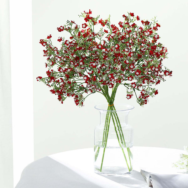 "4 Pack | 27"" Burgundy Babys Breath Artificial Flowers, Gypsophila Real Touch Silk Flowers Stem"