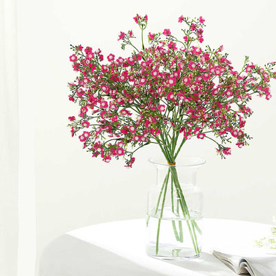4 Pack | 27inch Fushia Babys Breath Artificial Flowers, Gypsophila Real Touch Silk Flowers Stem