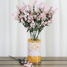 12 Bushes Blush | Rose Gold Artificial Silk Baby Breath Flowers