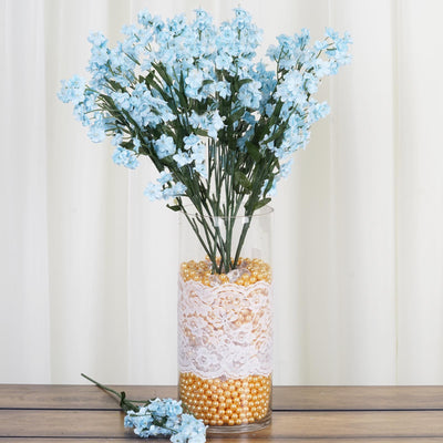 12 Bushes Light Blue Artificial Silk Baby Breath Flowers