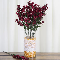 12 Silk Baby Breath-Burgundy