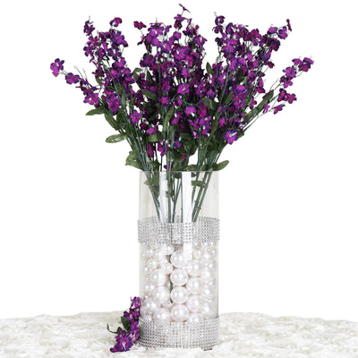 12 Bushes Purple Artificial Silk Baby Breath Flowers