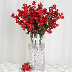 "20"" Artificial Silk Baby Breath Wedding Flower Bouquet Centerpiece Decor - Red- 12 Stems/pk"
