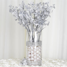 "20"" Artificial Silk Baby Breath Wedding Flower Bouquet Centerpiece Decor - Silver- 12 Stems/pk"