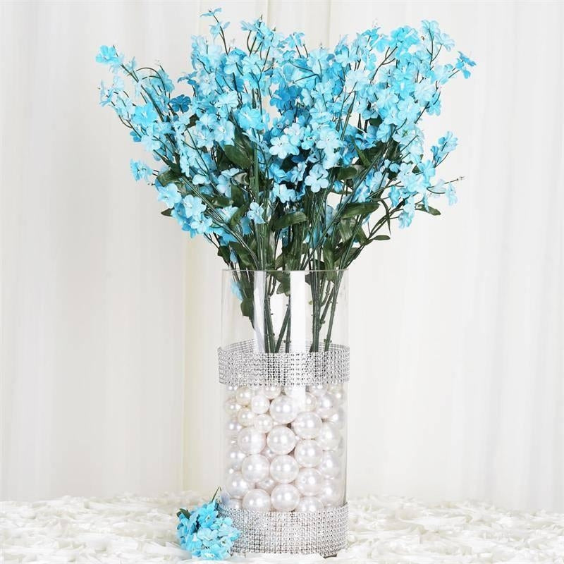 Turquoise 12 Bushes With 32 Artificial Silk Baby Breath Wedding ...