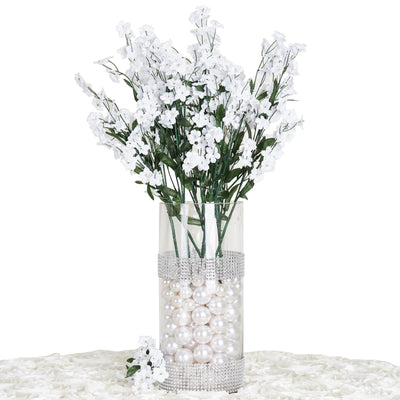 12 Bush 32 pcs White Artificial Silk Baby Breath Flowers