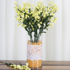 12 Bushes Yellow Silk Artificial Baby's Breath Bulk
