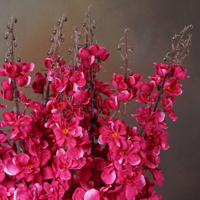 3 Artificial Delphinium Bushes Wedding Vase Centerpiece Decor - Fushia