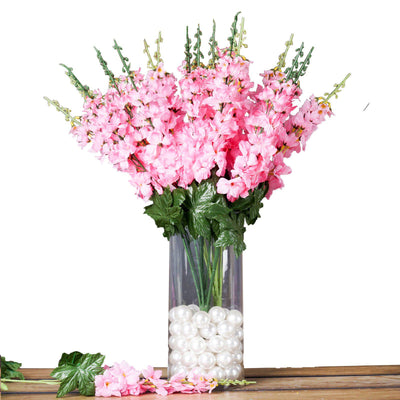3 Artificial Delphinium Bushes Wedding Vase Centerpiece Decor - Pink