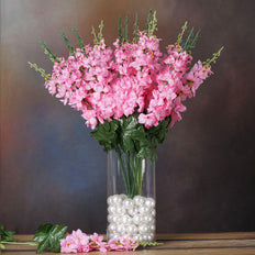 3 Bush 24'' Pink Artificial Delphinium Flowers