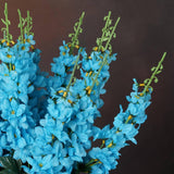 3 Artificial Delphinium Bushes Wedding Vase Centerpiece Decor - Turquoise