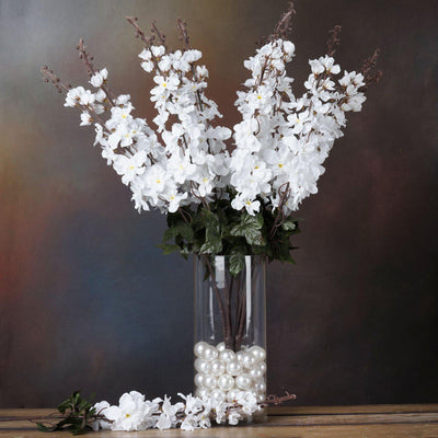 3 Bush 24'' White Artificial Delphinium Flowers