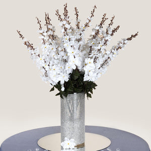 3 Artificial Delphinium Bushes Wedding Vase Centerpiece Decor - White