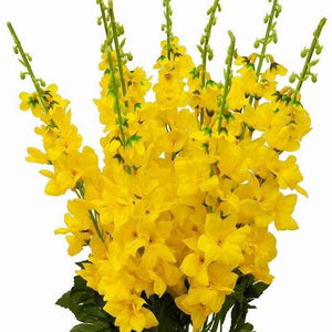 3 Artificial Delphinium Bushes Wedding Vase Centerpiece Decor - Yellow