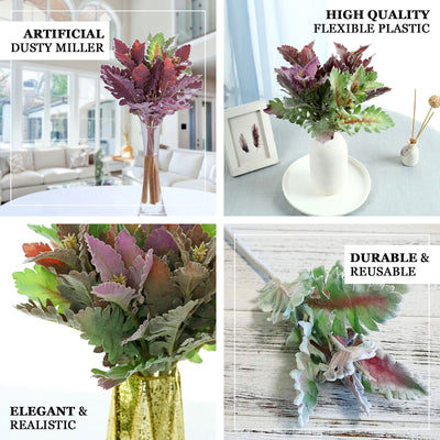 "Pack of 3 | 14.5"" Artificial Dusty Miller Leaf Spray"
