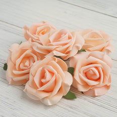 "6 pcs 4"" Peach Real Touch 3D Artificial DIY Foam Rose Flower Head"