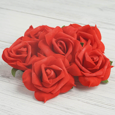 "6 pcs 4"" Red Real Touch 3D Artificial DIY Foam Rose Flower Head"