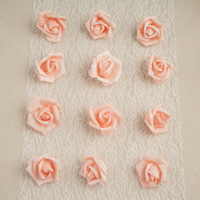 "12 pcs 2"" Peach Real Touch 3D Artificial DIY Foam Rose Flower Head"