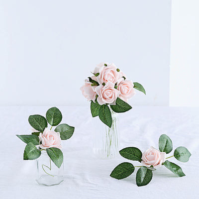 24 Pcs | 2inch Rose Gold/Blush Foam Rose With Stem And Leaves - 16 Colors