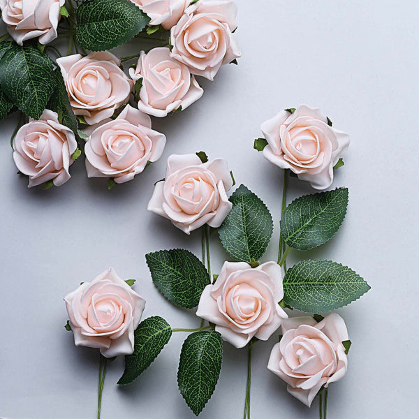 "24 Pcs | 2"" Rose Gold/Blush Foam Rose With Stem And Leaves - 16 Colors"