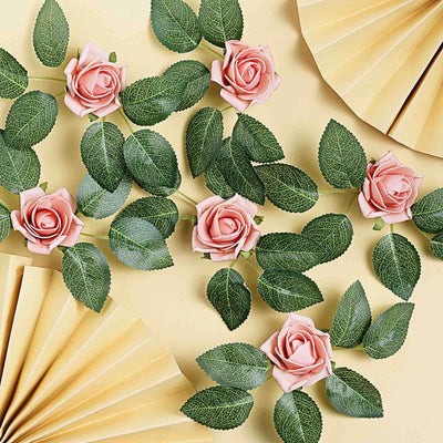24 Roses | 2inch Dusty Rose Artificial Foam Rose With Stem And Leaves - 16 Colors