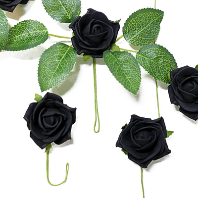 24 Roses | 2inch Artificial Foam Rose With Stem And Leaves - 16 Colors