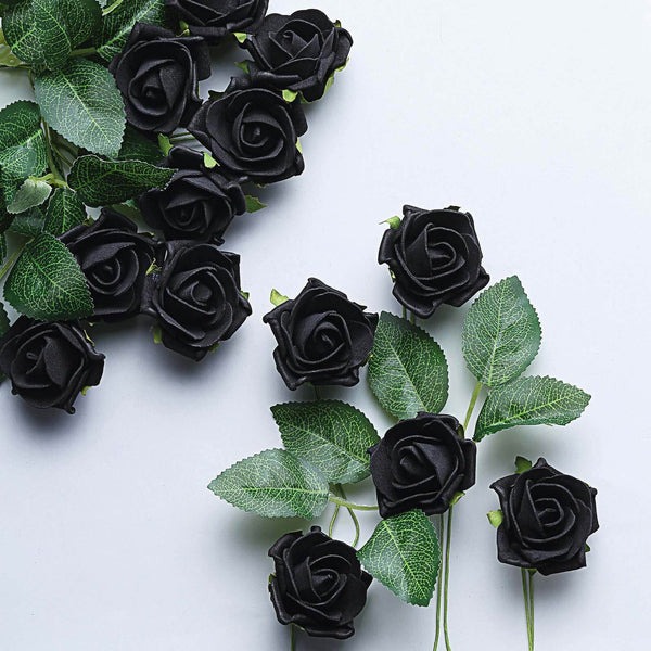 "24 Pcs | 2"" Black Foam Rose With Stem And Leaves - 16 Colors"